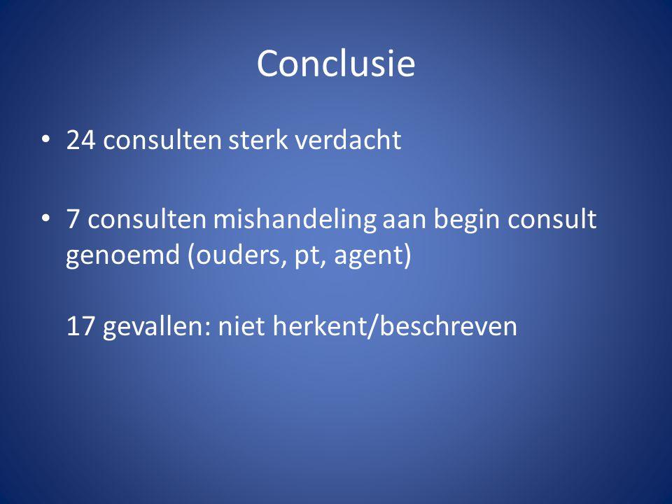 Conclusie 24 consulten sterk verdacht 7 consulten mishandeling aan begin consult genoemd (ouders, pt, agent) 17 gevallen: niet herkent/beschreven