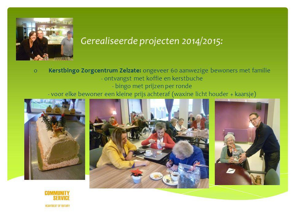 o Gerealiseerde projecten 2014/2015: oKerstbingo Zorgcentrum Zelzate: ongeveer 60 aanwezige bewoners met familie - ontvangst met koffie en kerstbuche - bingo met prijzen per ronde - voor elke bewoner een kleine prijs achteraf (waxine licht houder + kaarsje)