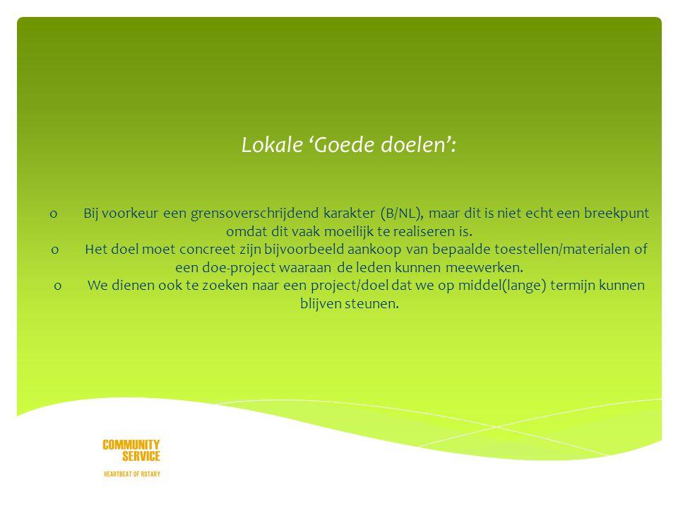 o Lokale 'Goede doelen': oBij voorkeur een grensoverschrijdend karakter (B/NL), maar dit is niet echt een breekpunt omdat dit vaak moeilijk te realiseren is.