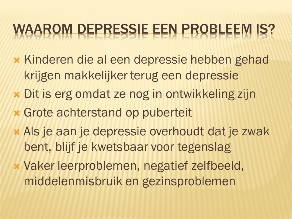  Kinderen die al een depressie hebben gehad krijgen makkelijker terug een depressie  Dit is erg omdat ze nog in ontwikkeling zijn  Grote achterstand op puberteit  Als je aan je depressie overhoudt dat je zwak bent, blijf je kwetsbaar voor tegenslag  Vaker leerproblemen, negatief zelfbeeld, middelenmisbruik en gezinsproblemen