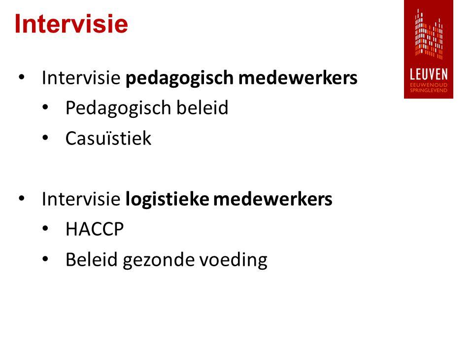 Intervisie Intervisie pedagogisch medewerkers Pedagogisch beleid Casuïstiek Intervisie logistieke medewerkers HACCP Beleid gezonde voeding