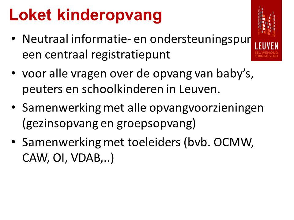 Loket kinderopvang Neutraal informatie- en ondersteuningspunt en een centraal registratiepunt voor alle vragen over de opvang van baby's, peuters en schoolkinderen in Leuven.