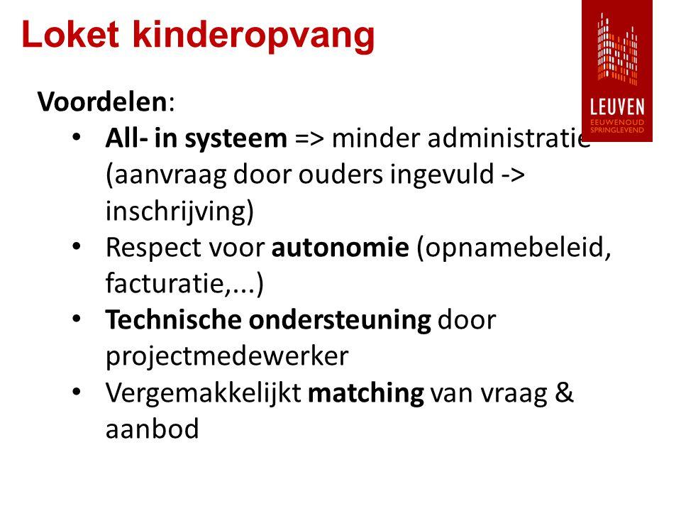 Loket kinderopvang Voordelen: All- in systeem => minder administratie (aanvraag door ouders ingevuld -> inschrijving) Respect voor autonomie (opnamebeleid, facturatie,...) Technische ondersteuning door projectmedewerker Vergemakkelijkt matching van vraag & aanbod