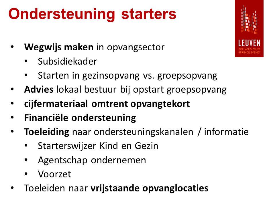 Ondersteuning starters Wegwijs maken in opvangsector Subsidiekader Starten in gezinsopvang vs.