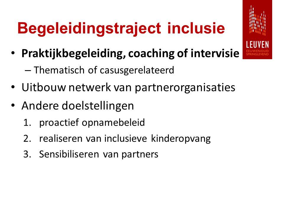 Begeleidingstraject inclusie Praktijkbegeleiding, coaching of intervisie – Thematisch of casusgerelateerd Uitbouw netwerk van partnerorganisaties Andere doelstellingen 1.proactief opnamebeleid 2.realiseren van inclusieve kinderopvang 3.Sensibiliseren van partners