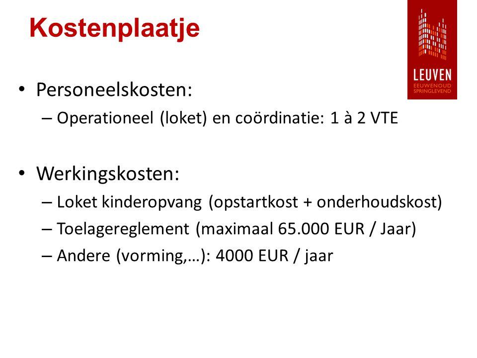 Kostenplaatje Personeelskosten: – Operationeel (loket) en coördinatie: 1 à 2 VTE Werkingskosten: – Loket kinderopvang (opstartkost + onderhoudskost) – Toelagereglement (maximaal 65.000 EUR / Jaar) – Andere (vorming,…): 4000 EUR / jaar