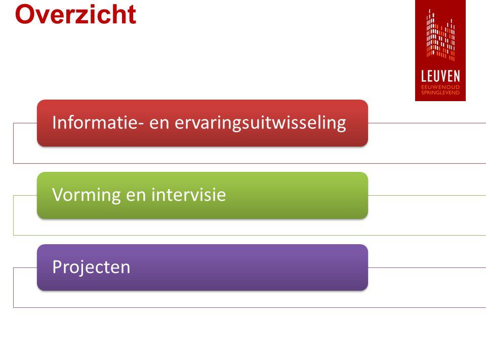 Overzicht Informatie- en ervaringsuitwisselingVorming en intervisieProjecten