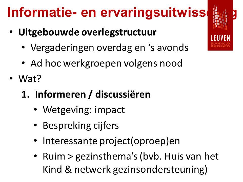 Informatie- en ervaringsuitwisseling Uitgebouwde overlegstructuur Vergaderingen overdag en 's avonds Ad hoc werkgroepen volgens nood Wat.