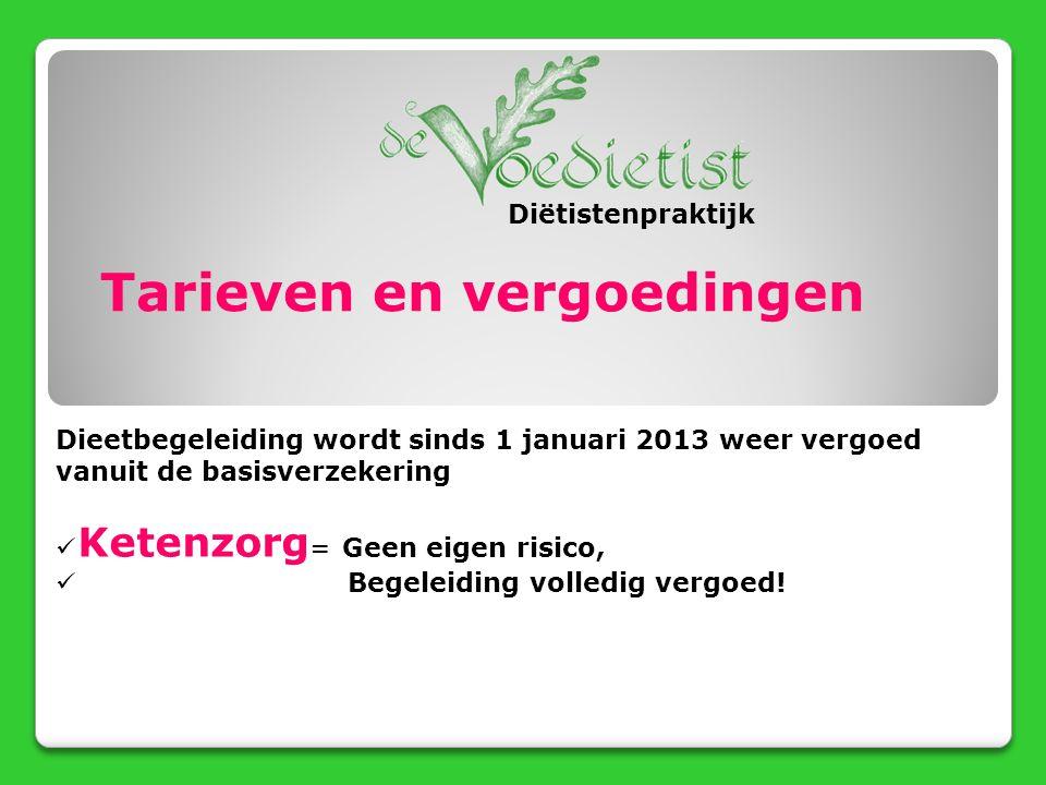 Tarieven en vergoedingen Dieetbegeleiding wordt sinds 1 januari 2013 weer vergoed vanuit de basisverzekering Ketenzorg = Geen eigen risico, Begeleidin