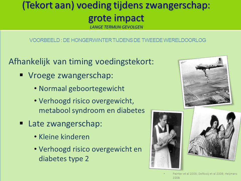 (Tekort aan) voeding tijdens zwangerschap: grote impact LANGE TERMIJN GEVOLGEN Afhankelijk van timing voedingstekort:  Vroege zwangerschap: Normaal g