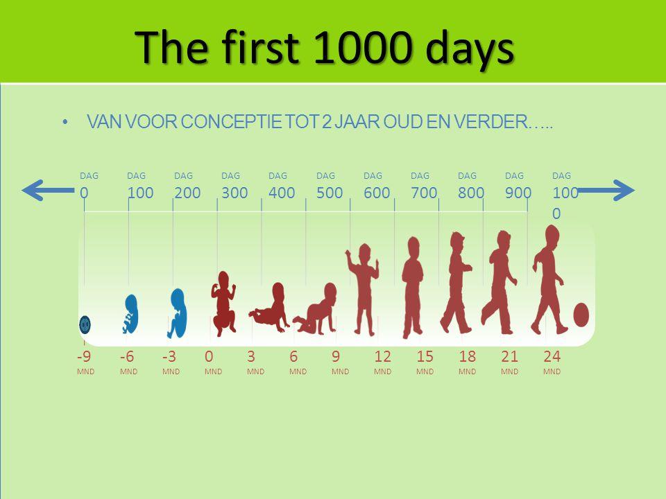Groei, ontwikkeling en gezondheid in The first 1000 days bepalen de latere gezondheid Leeftijd geboorte effectiviteit ziekte gezondheid Stunting Allergie Overgewicht Coronaire hartziekten Diabetes Cognitieve achteruitgang Gezond leven Groei en metabolisme Rijping maagdarmkanaal Hersenontwikkeling Rijping immuunsysteem Smaakontwikkeling