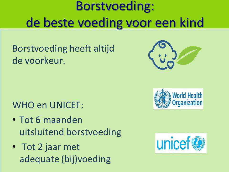 Borstvoeding: de beste voeding voor een kind Borstvoeding heeft altijd de voorkeur. WHO en UNICEF: Tot 6 maanden uitsluitend borstvoeding Tot 2 jaar m