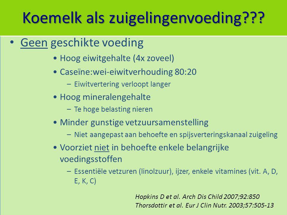 Koemelk als zuigelingenvoeding??? Geen geschikte voeding Hoog eiwitgehalte (4x zoveel) Caseïne:wei-eiwitverhouding 80:20 –Eiwitvertering verloopt lang