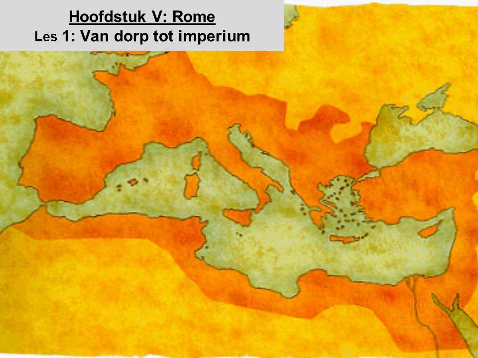 Het begin; het Koninkrijk Romules en Remus –Stichting van het koninkrijk (753 VC) –Verhaal van de stad: de 7 heuvels en de Tiber –Hun legende H5: §1; p72-3 3000 2000 1500 1000 700 400 200 1 400