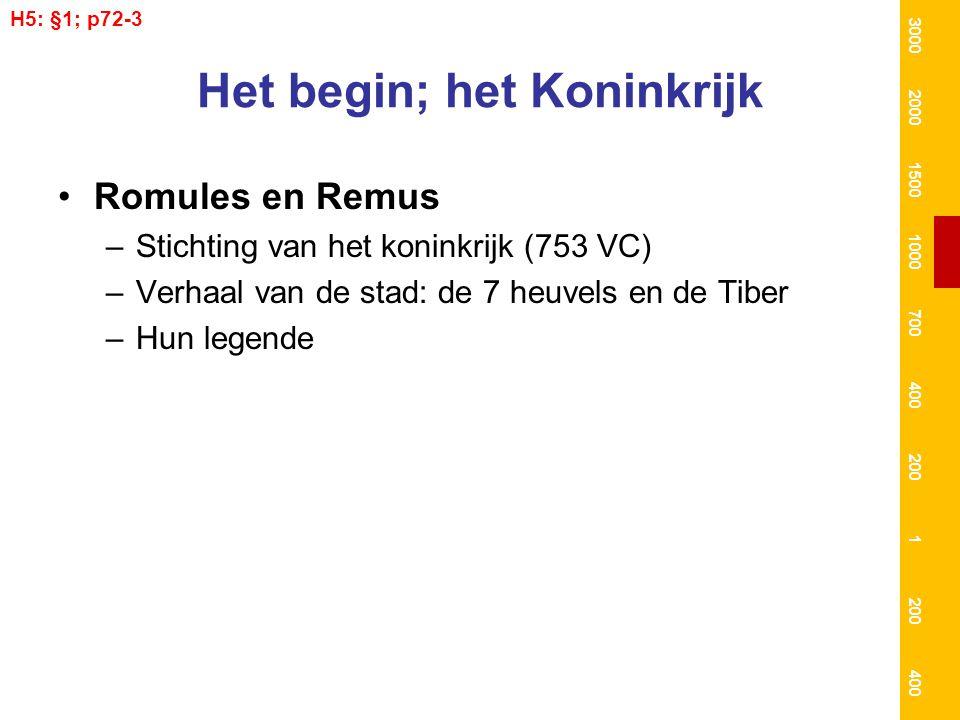 Het begin; het Koninkrijk Romules en Remus –Stichting van het koninkrijk (753 VC) –Verhaal van de stad: de 7 heuvels en de Tiber –Hun legende H5: §1;