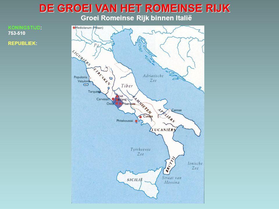 DE GROEI VAN HET ROMEINSE RIJK Groei Romeinse Rijk binnen Italië 486-387 KONINGSTIJD: 753-510.