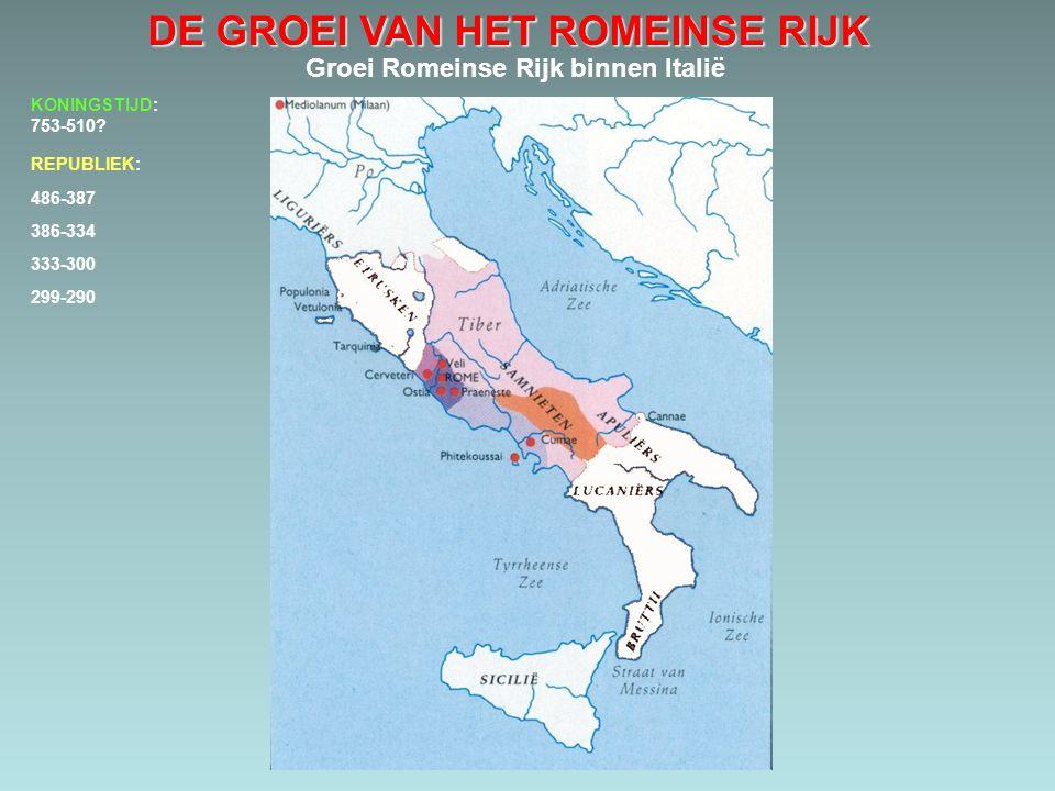DE GROEI VAN HET ROMEINSE RIJK Groei Romeinse Rijk binnen Italië 486-387 386-334 333-300 299-290 KONINGSTIJD: 753-510? REPUBLIEK: