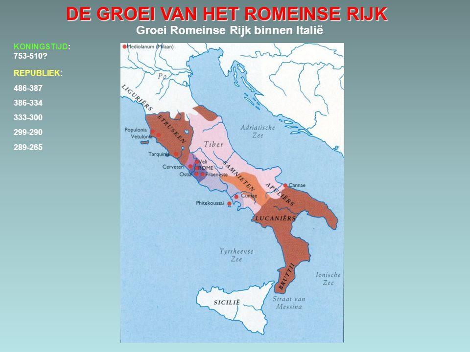 DE GROEI VAN HET ROMEINSE RIJK Groei Romeinse Rijk binnen Italië 486-387 386-334 333-300 299-290 289-265 KONINGSTIJD: 753-510? REPUBLIEK: