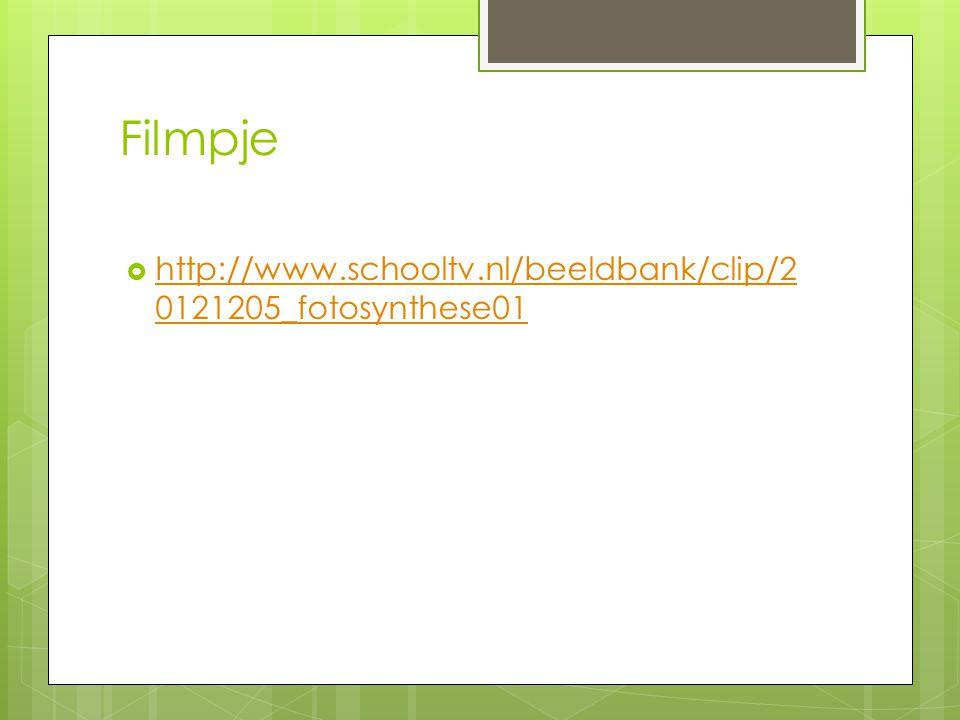 Filmpje  http://www.schooltv.nl/beeldbank/clip/2 0121205_fotosynthese01 http://www.schooltv.nl/beeldbank/clip/2 0121205_fotosynthese01