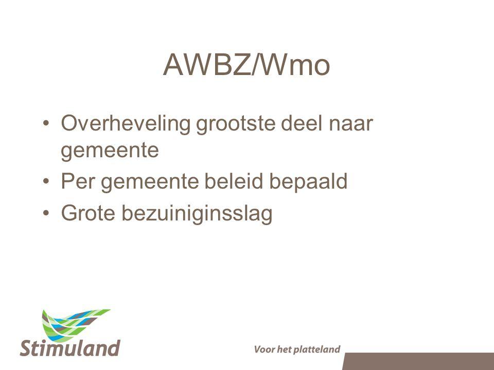 AWBZ/Wmo Overheveling grootste deel naar gemeente Per gemeente beleid bepaald Grote bezuiniginsslag