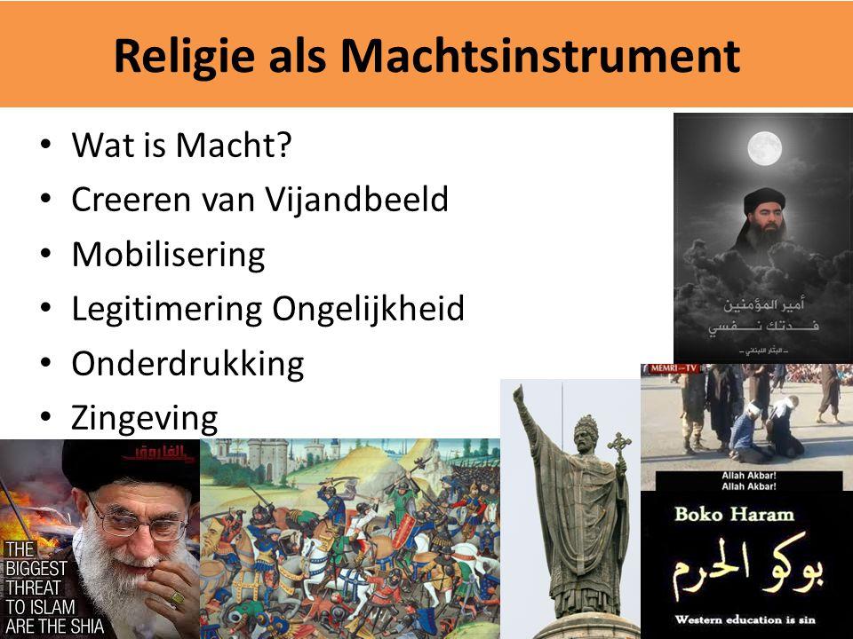 Religie als Machtsinstrument Wat is Macht? Creeren van Vijandbeeld Mobilisering Legitimering Ongelijkheid Onderdrukking Zingeving