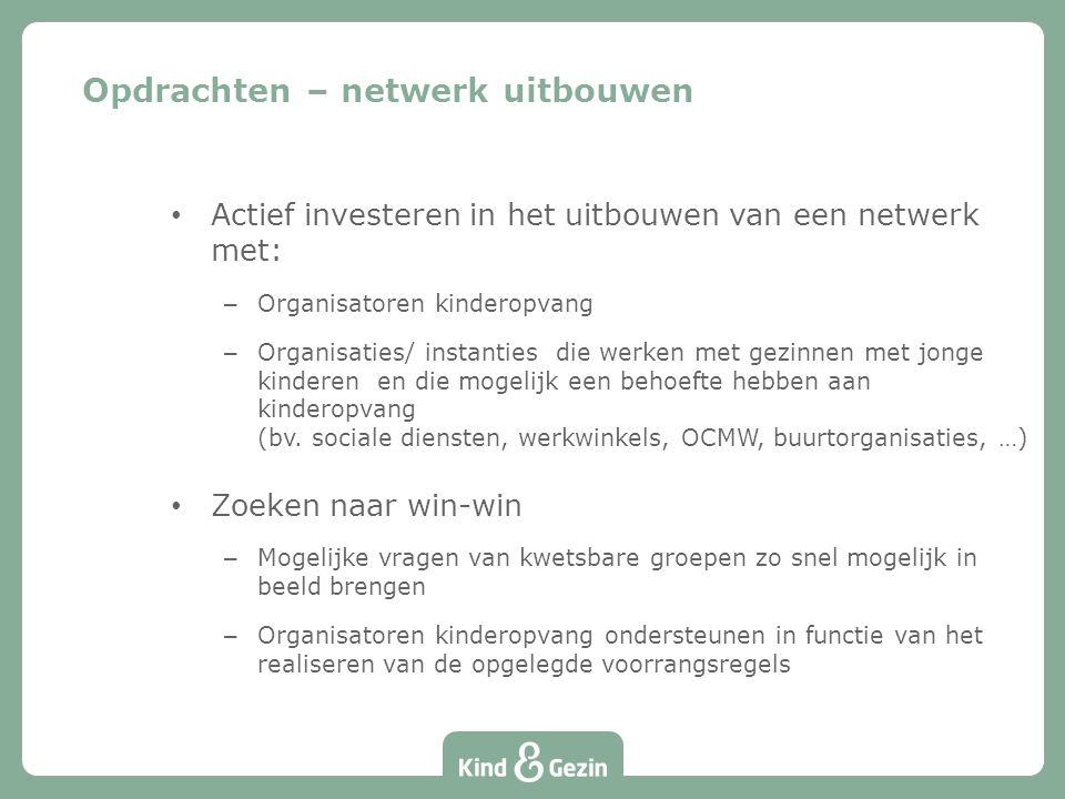 Actief investeren in het uitbouwen van een netwerk met: – Organisatoren kinderopvang – Organisaties/ instanties die werken met gezinnen met jonge kinderen en die mogelijk een behoefte hebben aan kinderopvang (bv.