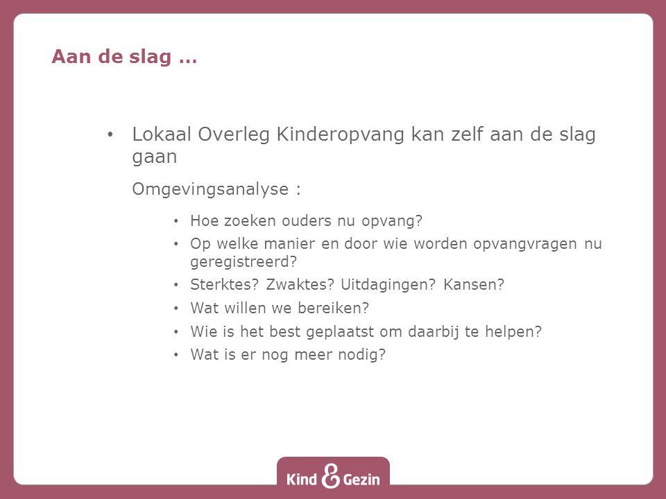 Lokaal Overleg Kinderopvang kan zelf aan de slag gaan Omgevingsanalyse : Hoe zoeken ouders nu opvang.