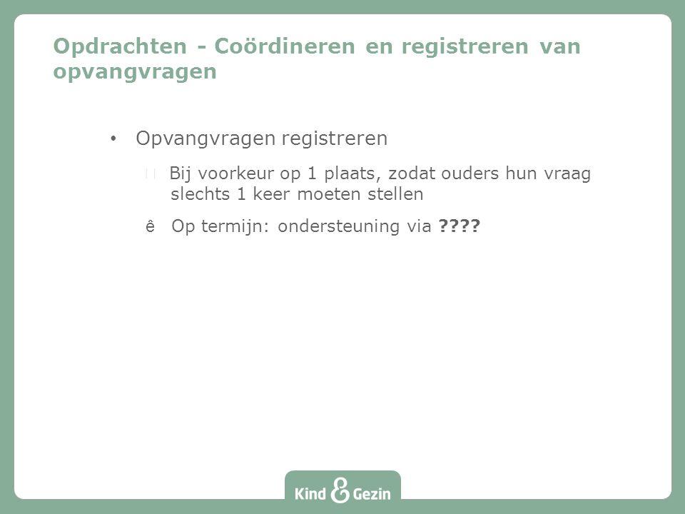 Opvangvragen registreren  Bij voorkeur op 1 plaats, zodat ouders hun vraag slechts 1 keer moeten stellen êOp termijn: ondersteuning via ???.