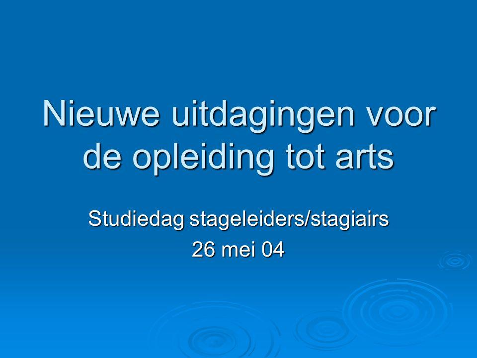 Nieuwe uitdagingen voor de opleiding tot arts Studiedag stageleiders/stagiairs 26 mei 04