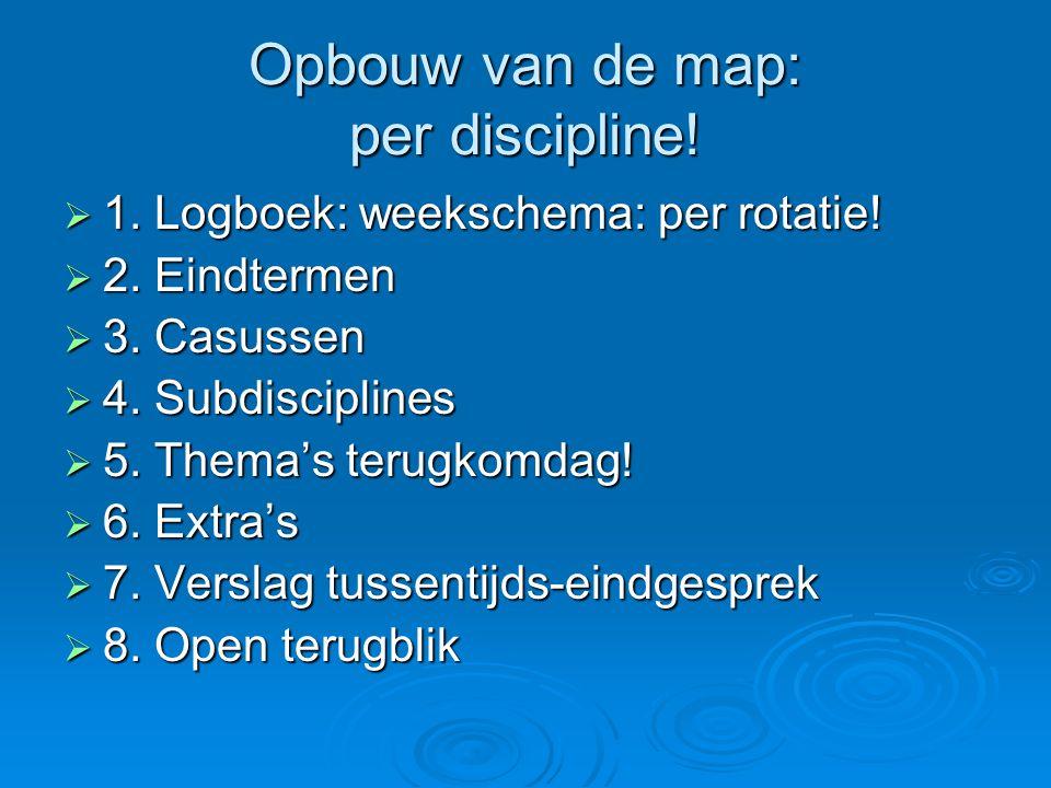 Opbouw van de map: per discipline.  1. Logboek: weekschema: per rotatie.