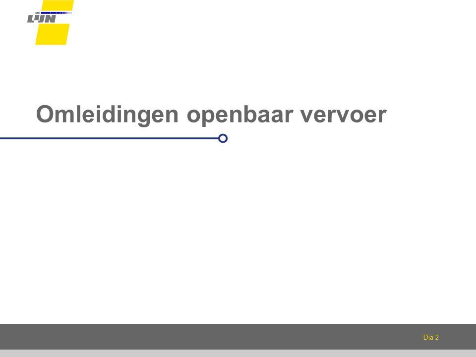 Dia 3 Per fase een licht gewijzigde situatie Betrokken lijnen: Lijn 5 Lijn 52, 53, 54 Lijn 65, 69 Tramlijn 1: onderbreking in augustus Pendelbussen tussen Nieuwevaartbrug en Wondelgem- Evergem Per fase: Omleidingen Niet-bediende haltes