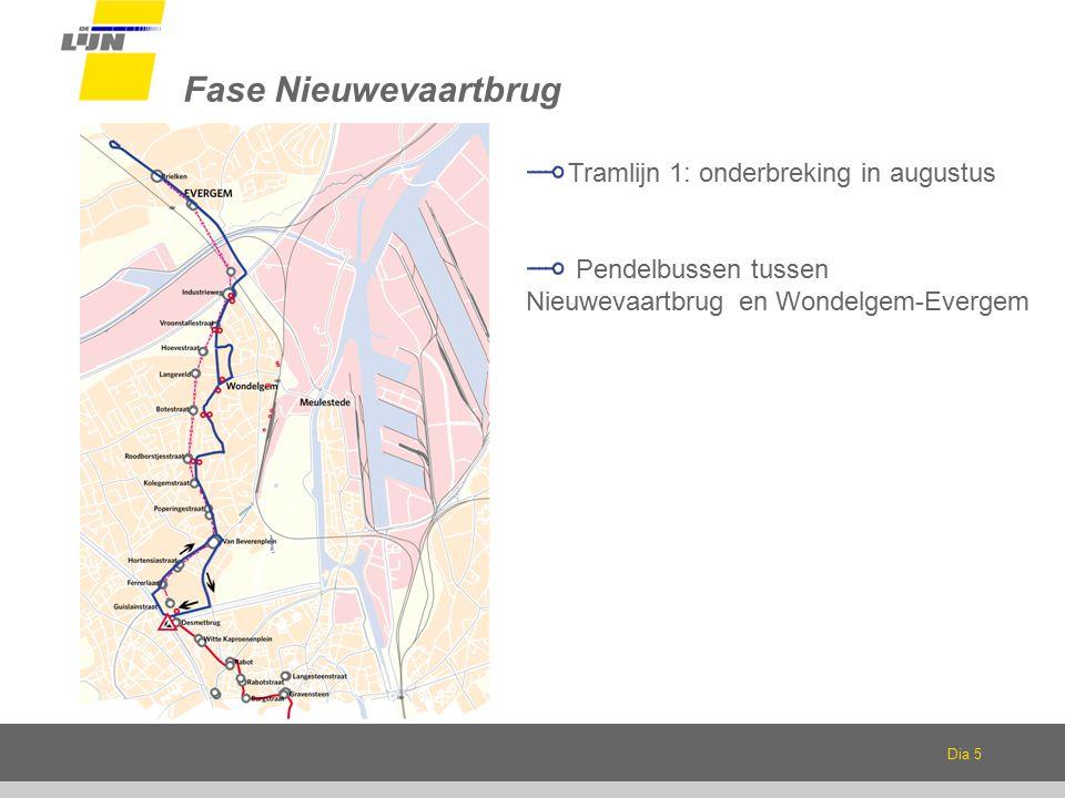Dia 5 Fase Nieuwevaartbrug Tramlijn 1: onderbreking in augustus Pendelbussen tussen Nieuwevaartbrug en Wondelgem-Evergem