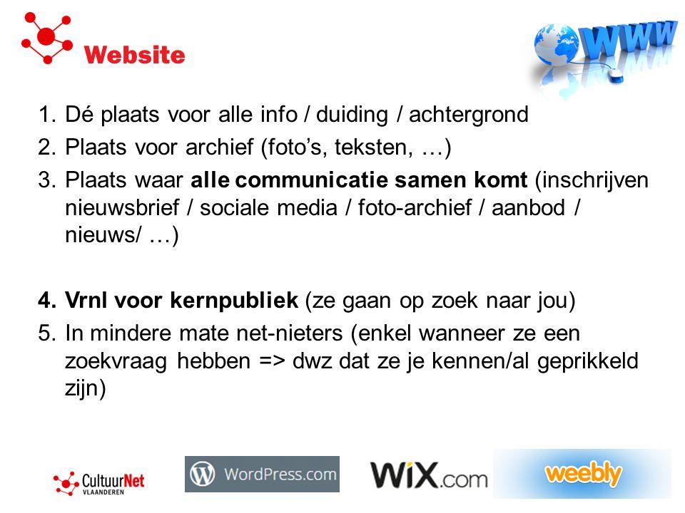 Website 1.Dé plaats voor alle info / duiding / achtergrond 2.Plaats voor archief (foto's, teksten, …) 3.Plaats waar alle communicatie samen komt (inschrijven nieuwsbrief / sociale media / foto-archief / aanbod / nieuws/ …) 4.Vrnl voor kernpubliek (ze gaan op zoek naar jou) 5.In mindere mate net-nieters (enkel wanneer ze een zoekvraag hebben => dwz dat ze je kennen/al geprikkeld zijn)