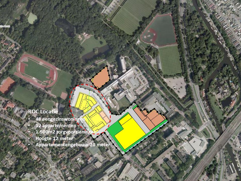 ROC Locatie 48 eengezinswoningen 12 appartementen 1.500m2 zorgvoorzieningen Hoogte 12 meter Appartementengebouw 20 meter