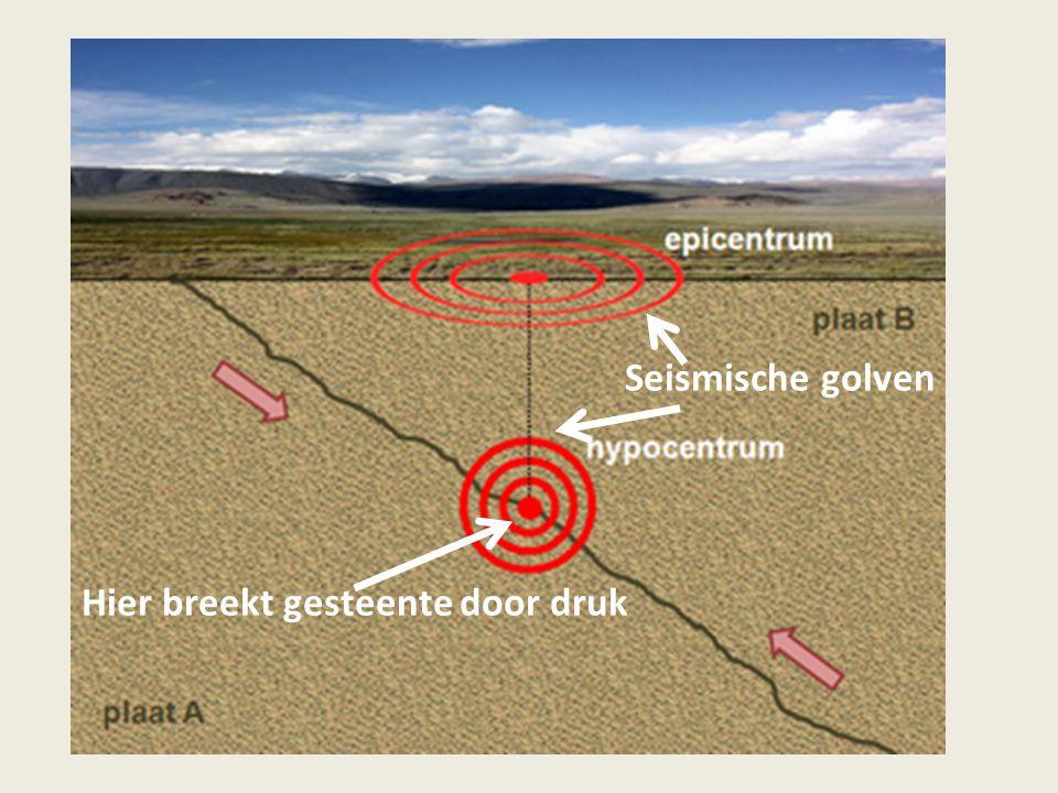 Hier breekt gesteente door druk Seismische golven