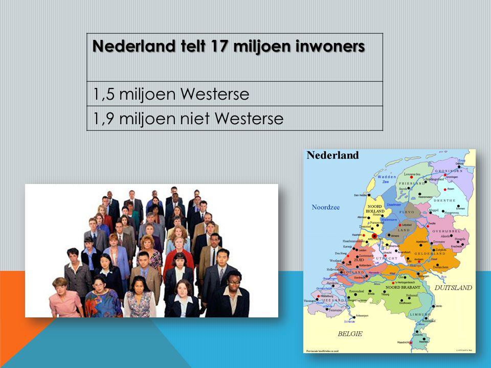 Nederland telt 17 miljoen inwoners 1,5 miljoen Westerse 1,9 miljoen niet Westerse