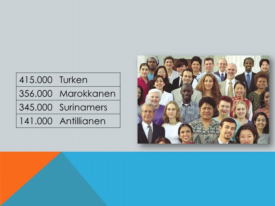 415.000 Turken 356.000 Marokkanen 345.000 Surinamers 141.000 Antillianen