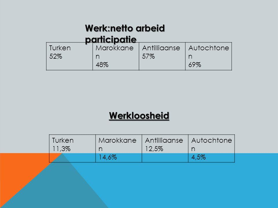 Werk:netto arbeid participatie Turken 52% Marokkane n 48% Antilliaanse 57% Autochtone n 69% Turken 11,3% Marokkane n 14,6% Antilliaanse 12,5% Autochtone n 4,5%Werkloosheid