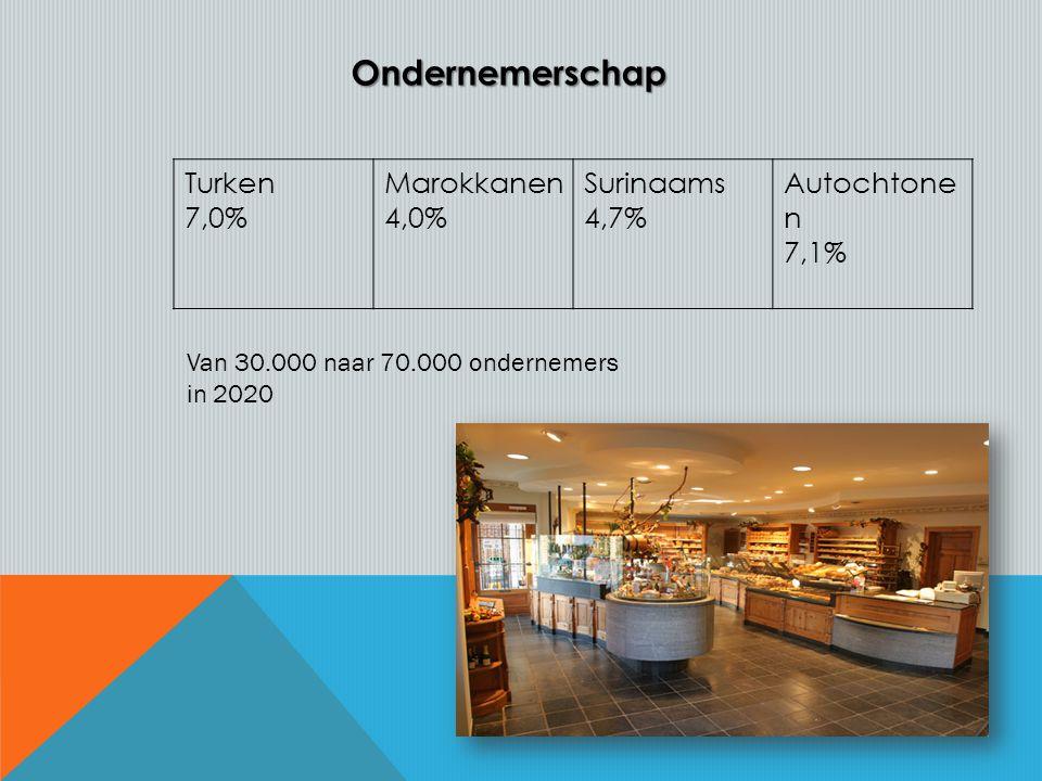 Turken 7,0% Marokkanen 4,0% Surinaams 4,7% Autochtone n 7,1%Ondernemerschap Van 30.000 naar 70.000 ondernemers in 2020