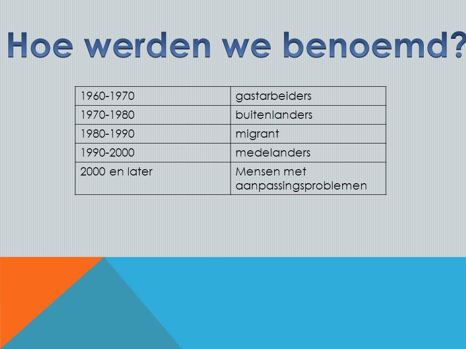 1960-1970gastarbeiders 1970-1980buitenlanders 1980-1990migrant 1990-2000medelanders 2000 en laterMensen met aanpassingsproblemen