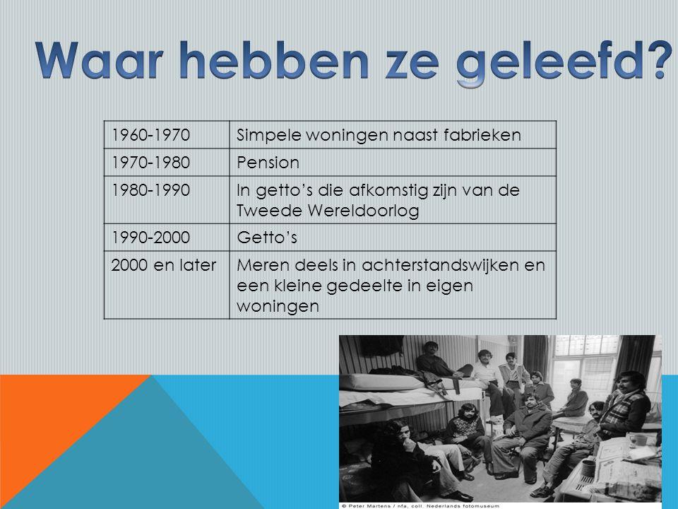 1960-1970Simpele woningen naast fabrieken 1970-1980Pension 1980-1990In getto's die afkomstig zijn van de Tweede Wereldoorlog 1990-2000Getto's 2000 en laterMeren deels in achterstandswijken en een kleine gedeelte in eigen woningen