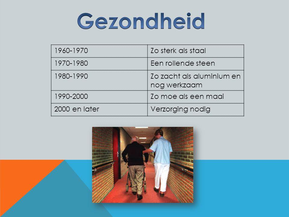 1960-1970Zo sterk als staal 1970-1980Een rollende steen 1980-1990Zo zacht als aluminium en nog werkzaam 1990-2000Zo moe als een maai 2000 en laterVerzorging nodig