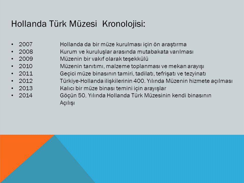 Hollanda Türk Müzesi Kronolojisi: 2007Hollanda da bir müze kurulması için ön araştırma 2008Kurum ve kuruluşlar arasında mutabakata varılması 2009Müzenin bir vakıf olarak teşekkülü 2010Müzenin tanıtımı, malzeme toplanması ve mekan arayışı 2011Geçici müze binasının tamiri, tadilatı, tefrişatı ve tezyinatı 2012Türkiye-Hollanda ilişkilerinin 400.
