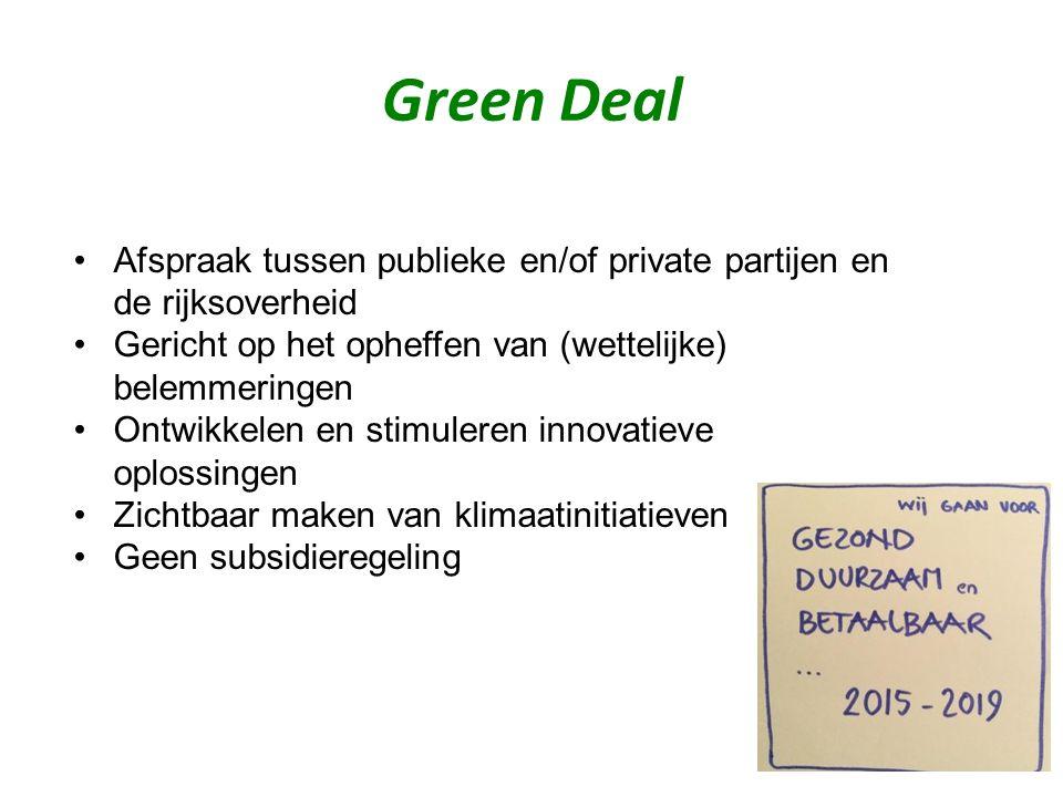 Afspraak tussen publieke en/of private partijen en de rijksoverheid Gericht op het opheffen van (wettelijke) belemmeringen Ontwikkelen en stimuleren innovatieve oplossingen Zichtbaar maken van klimaatinitiatieven Geen subsidieregeling Green Deal