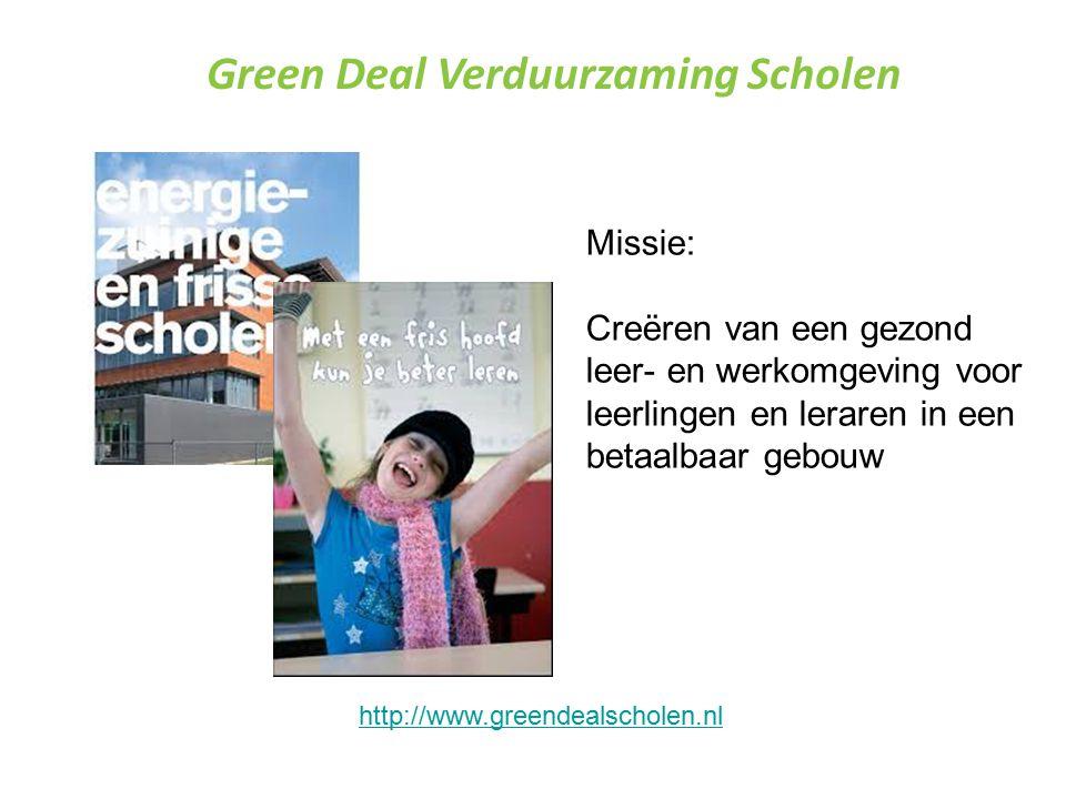 Green Deal Verduurzaming Scholen Missie: Creëren van een gezond leer- en werkomgeving voor leerlingen en leraren in een betaalbaar gebouw http://www.greendealscholen.nl