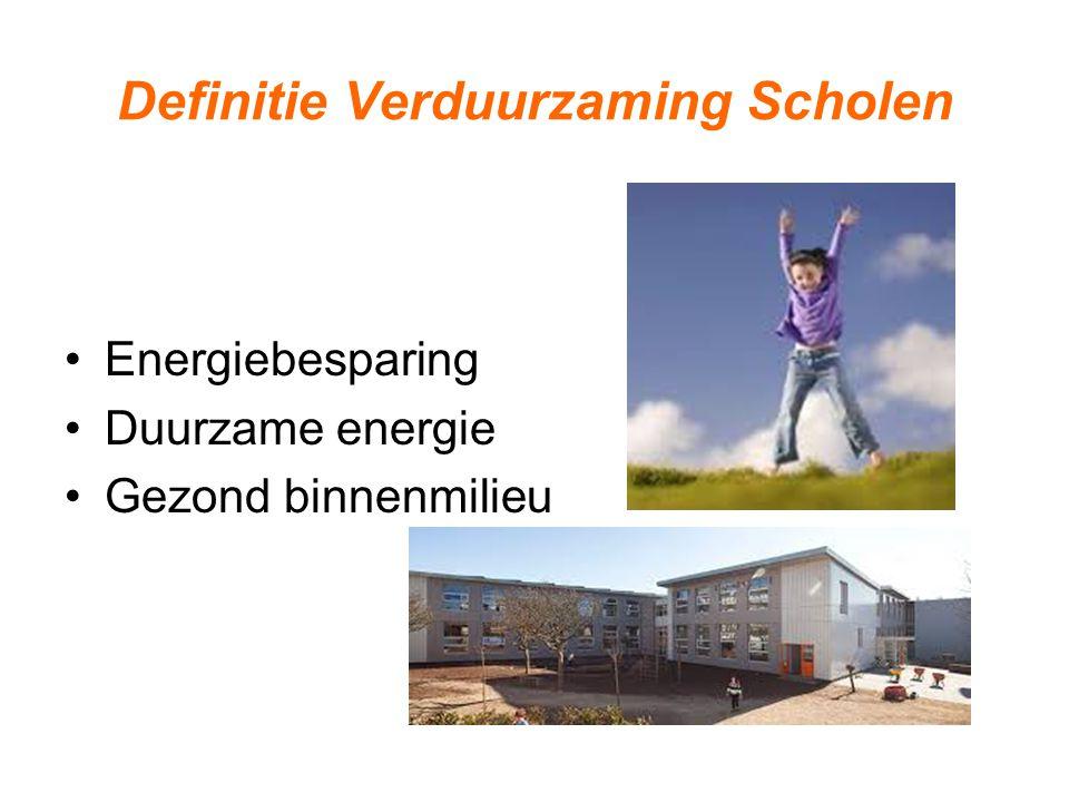 Focus op bestaande scholen Belangen van gebruikers centraal Bestaande kennis en instrumenten Ordening en objectivering van informatie Verbinden van vraag en aanbod Green Deal Verduurzaming Scholen