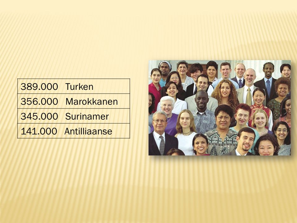 389.000 Turken 356.000 Marokkanen 345.000 Surinamer 141.000 Antilliaanse