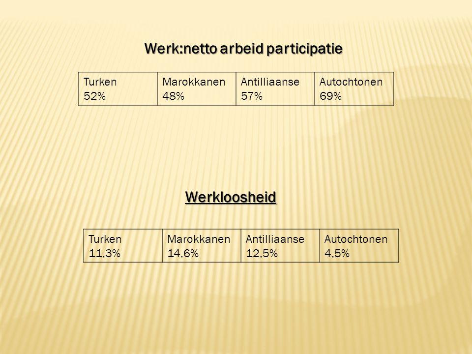 Werk:netto arbeid participatie Turken 52% Marokkanen 48% Antilliaanse 57% Autochtonen 69% Turken 11,3% Marokkanen 14,6% Antilliaanse 12,5% Autochtonen 4,5%Werkloosheid