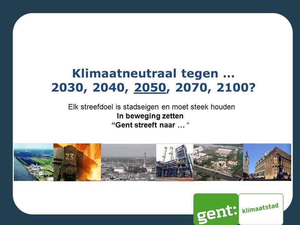 """Klimaatneutraal tegen … 2030, 2040, 2050, 2070, 2100? Elk streefdoel is stadseigen en moet steek houden In beweging zetten """"Gent streeft naar … """""""