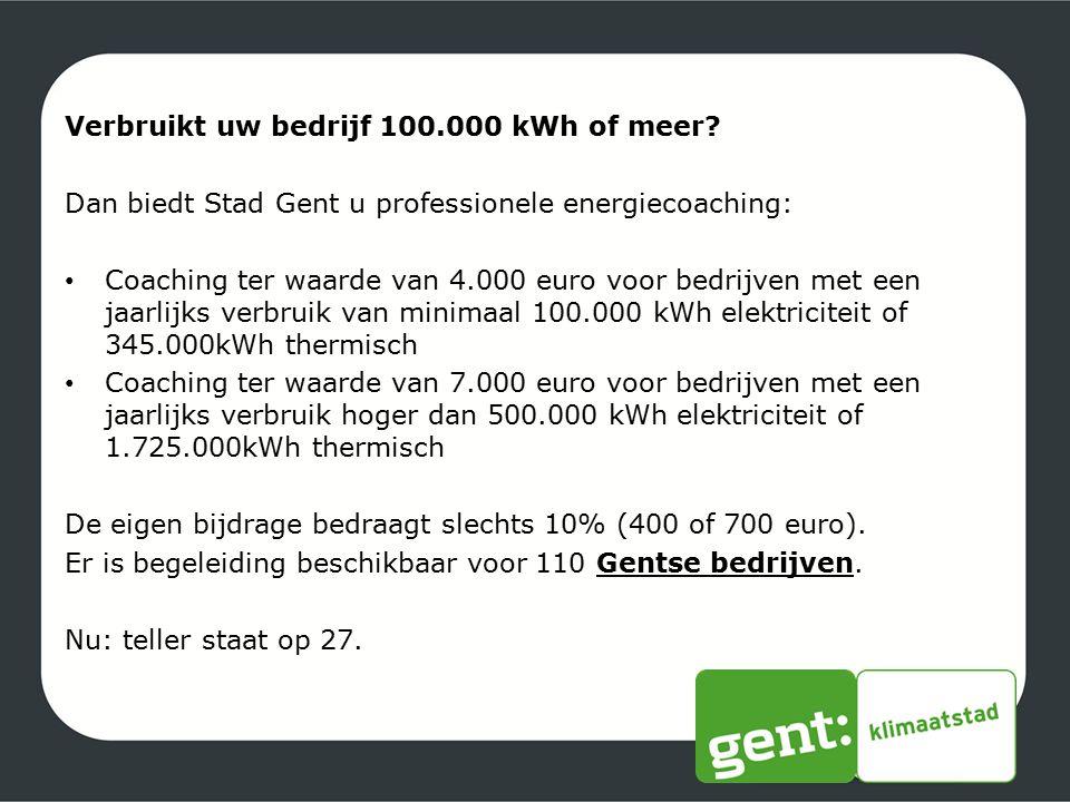 Verbruikt uw bedrijf 100.000 kWh of meer? Dan biedt Stad Gent u professionele energiecoaching: Coaching ter waarde van 4.000 euro voor bedrijven met e